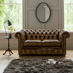 Genuine Leather 2 Seater Chesterfield Loveseat