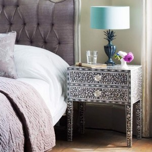 Grey Mother Of Pearl Bed Side