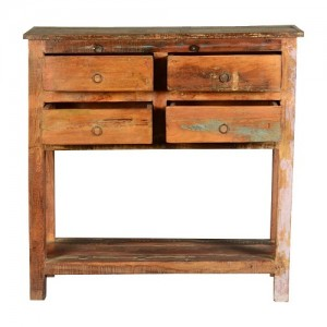 Rustic Reclaimed Wood Hall Console Table with Drawers