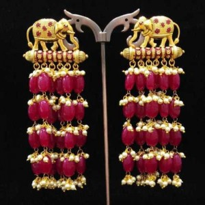 Temple Pearl Polki Earrings